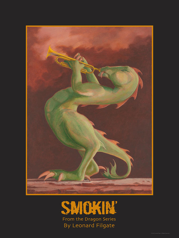 Dragons Painting - Smokin by Leonard Filgate