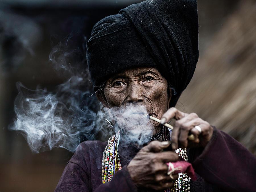 Myanmar Photograph - Smoking 2 by Amnon Eichelberg