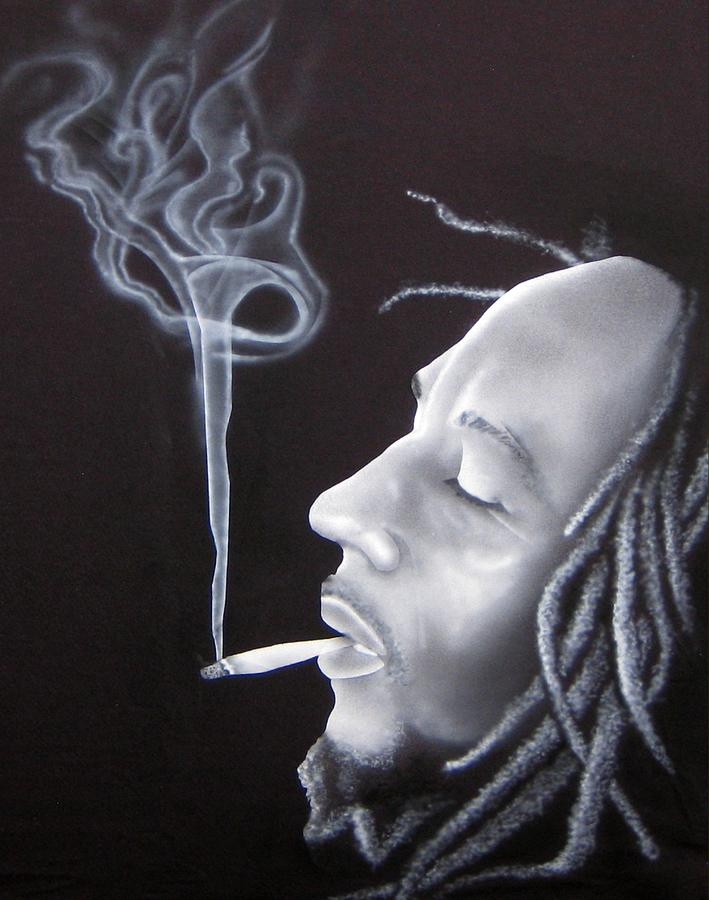smoking bob marley painting by miguel garcia bermejo