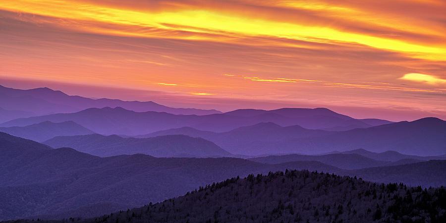 Smokies Photograph - Smoky Sunset Panorama by Andrew Soundarajan