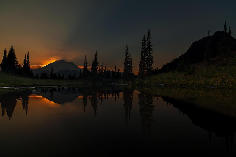 Rainier Photograph - Smoldering Rainier by Mike Reid
