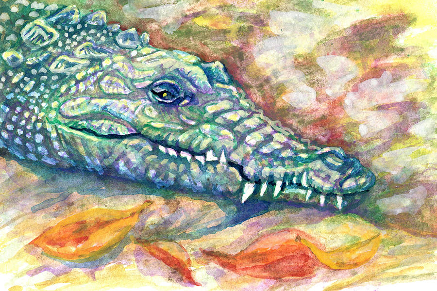 Crocodile Painting - Snaggletooth by Ashley Kujan