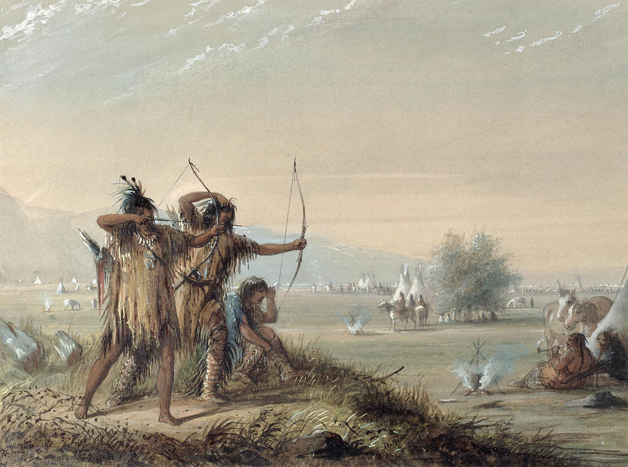 Plains Painting - Snake Indians Testing Bows by Alfred Jacob Miller
