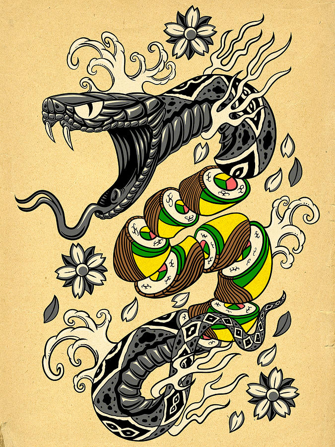 Snake Roll - Japanese Style Tattoo Snake W/ Snake Roll Sushi Digital ...