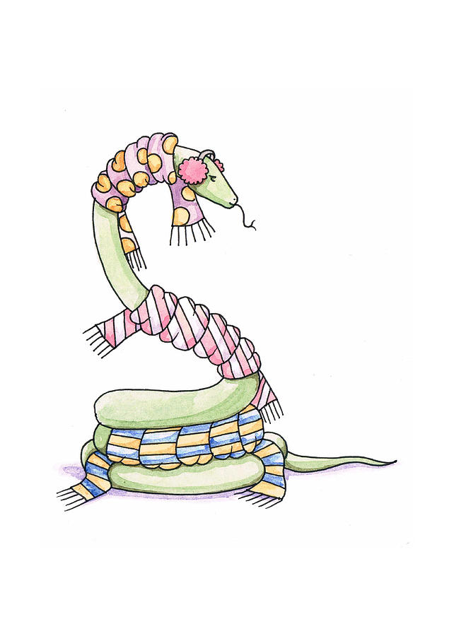 Snake Painting - Snake Wearing A Scarf by Christy Beckwith