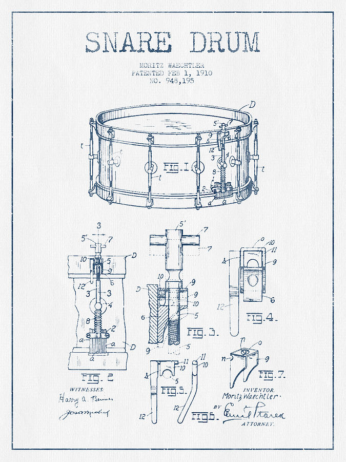 Snare Drum Digital Art - Snare Drum Patent Drawing From 1910  - Blue Ink by Aged Pixel