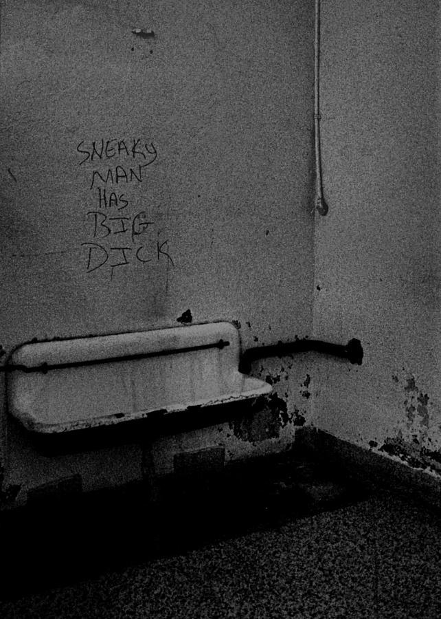 Urinal Photograph - Sneaky Man by Wayne Higgs