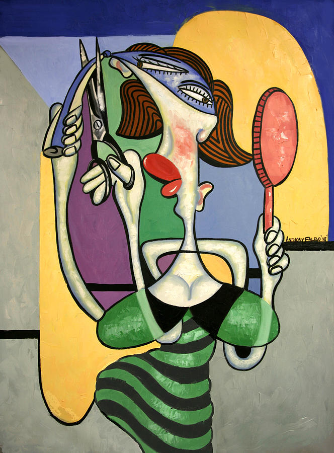 Woman Painting - Snip And Tuck by Anthony Falbo