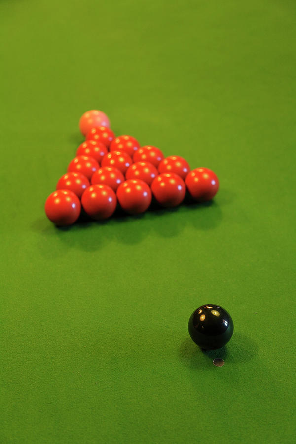 Snooker Balls On A Green Baize Table Photograph by Anthony Collins
