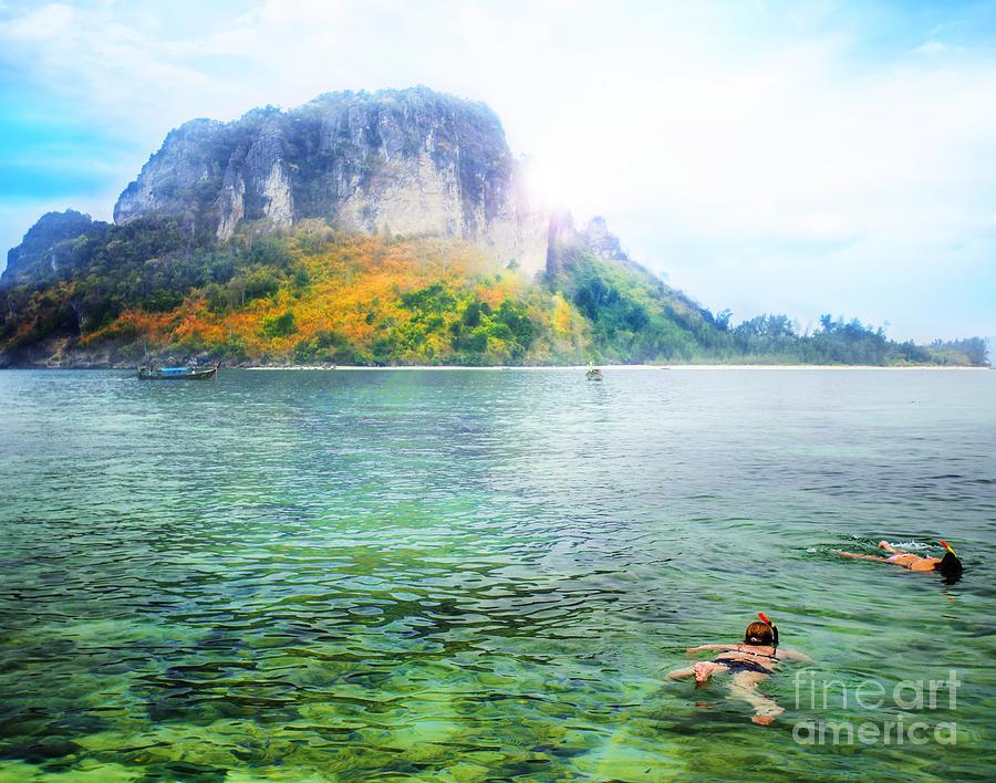 Snorkeling Photograph - Snorkeling  by Anek Suwannaphoom