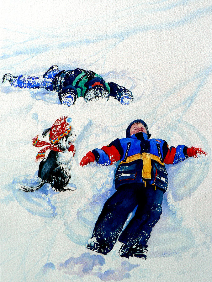 Children Playing Painting - Snow Angels by Hanne Lore Koehler