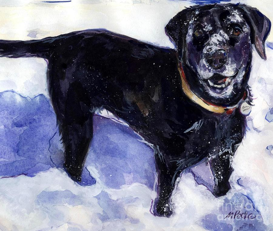 Black Dog Painting - Snow Belle by Molly Poole