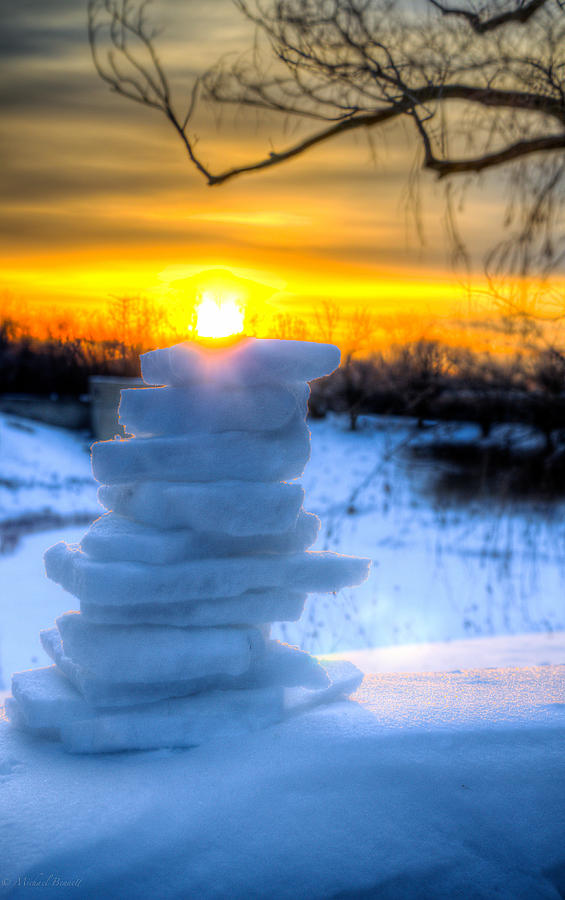 Sunrise Photograph - Snow Candle - North Of Chicago 1-8-14 by Michael  Bennett