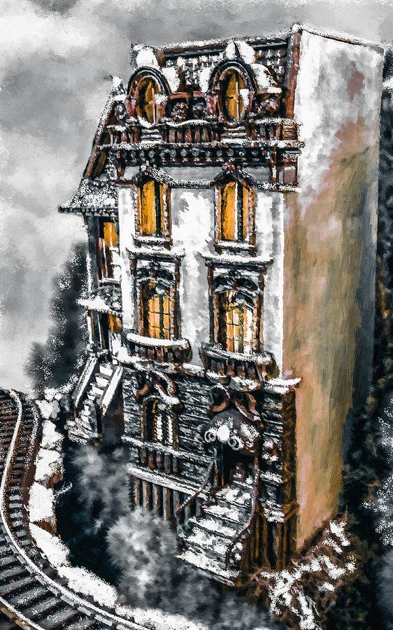 Digital Painting Digital Art - Snow Capped Brownstone by Jill Balsam