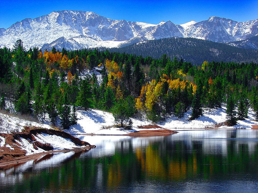 Snow Capped Pikes Peak At Crystal Photograph By John Hoffman