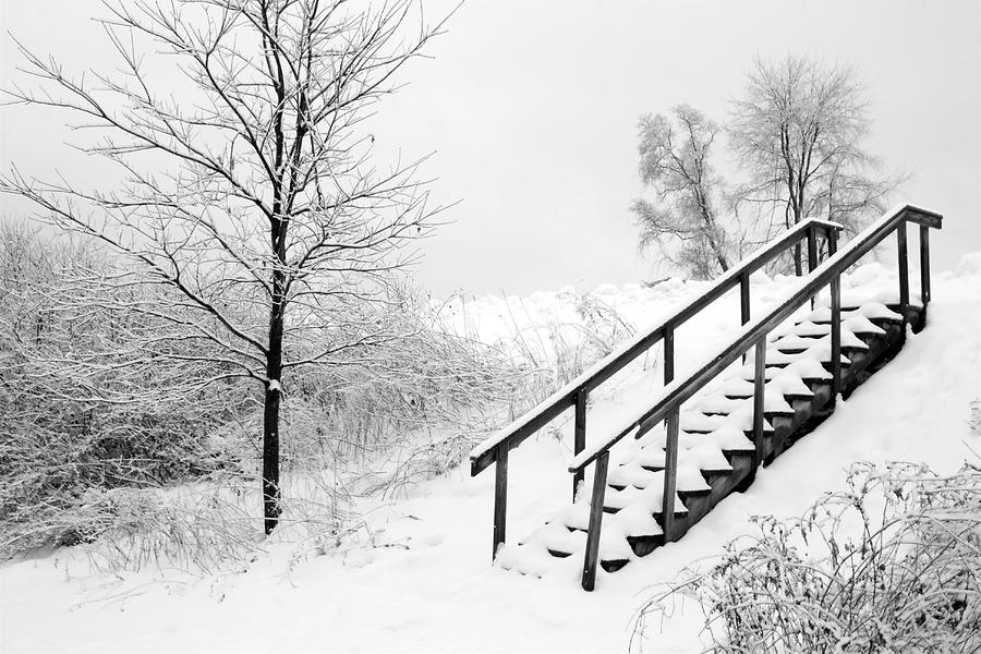 Snow Cover Stairs Photograph