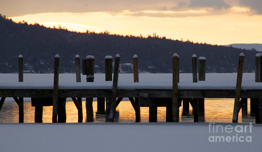 Meredith Photograph - Snow Covered Docks by Mike Mooney