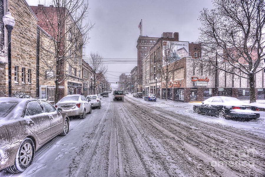 Morgantown Photograph - Snow Covered High Street And Cars In Morgantown by Dan Friend