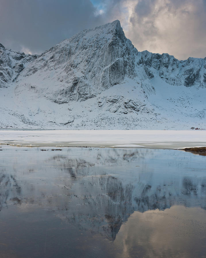 Snow Covered Mountain Reflected In Lake Photograph by © Peter Boehi