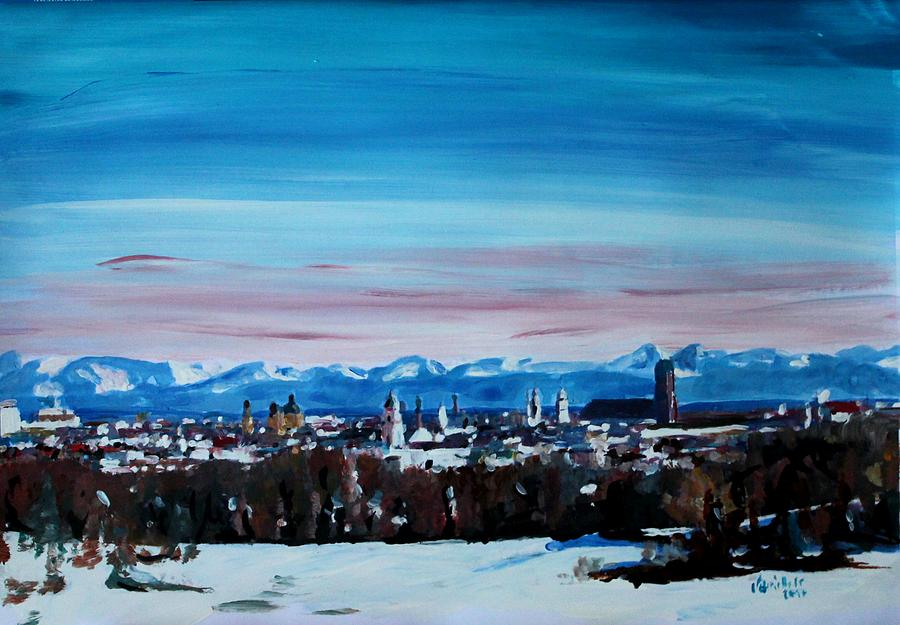 Winter Painting - Snow Covered Munich Winter Panorama With Alps by M Bleichner