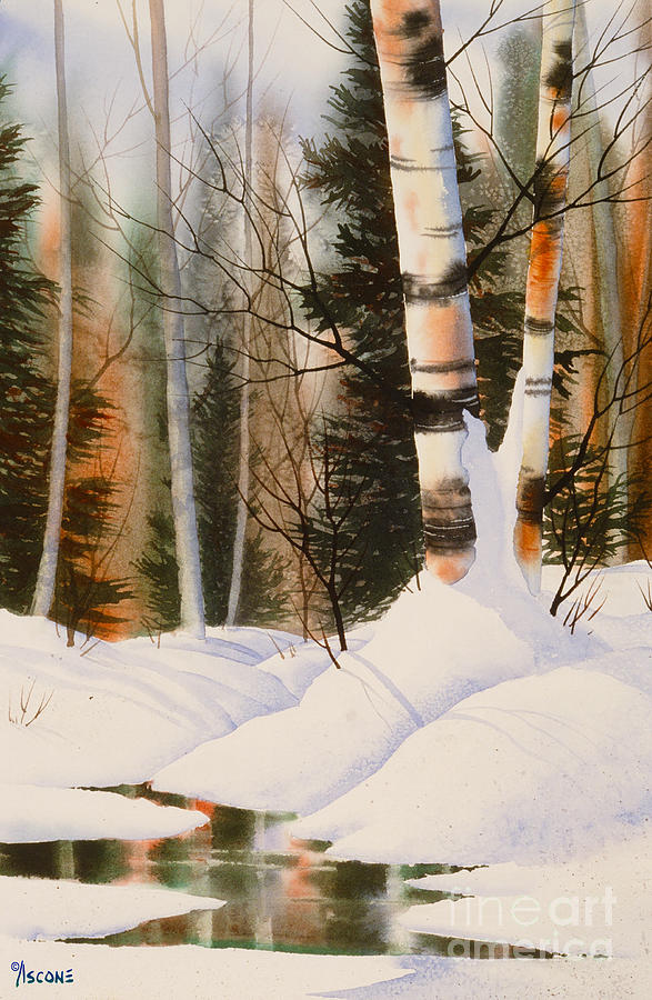 Birch Painting - Snow Crevice by Teresa Ascone