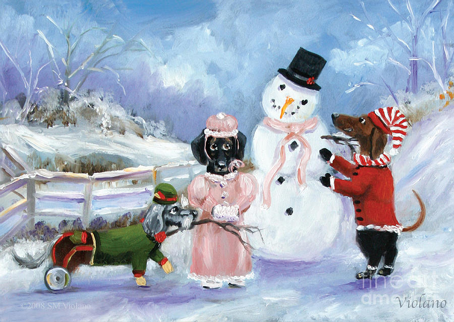 Dachshunds Painting - Snow Day for the Dachshund dogs by Violano by Stella Violano