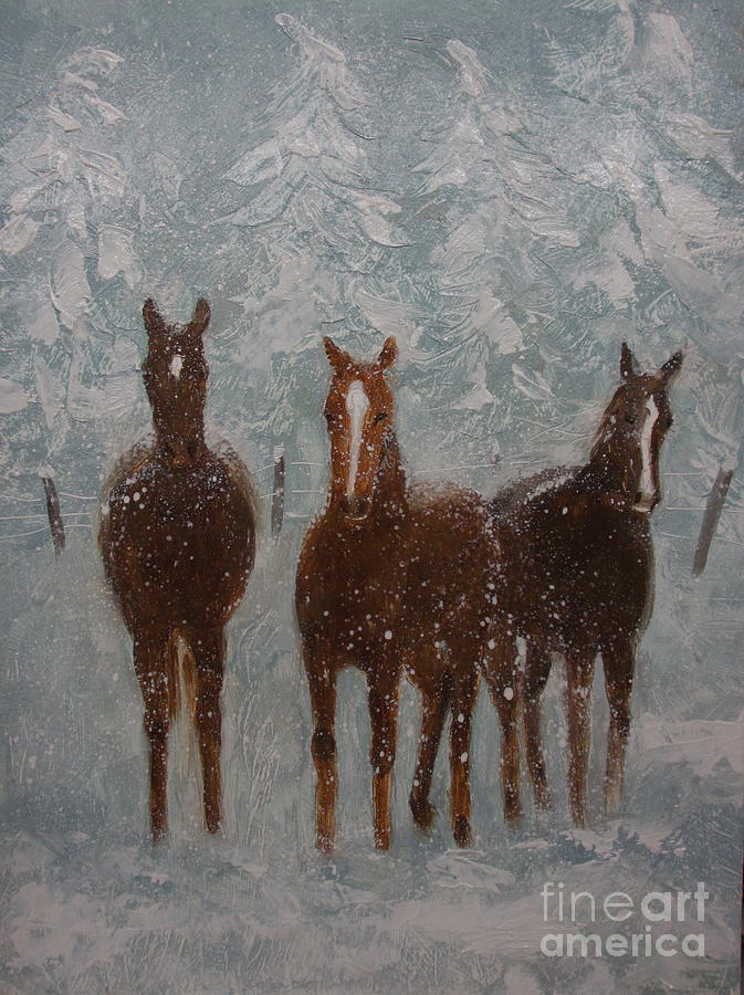 Horses Painting - Snow Day by Sherri Anderson