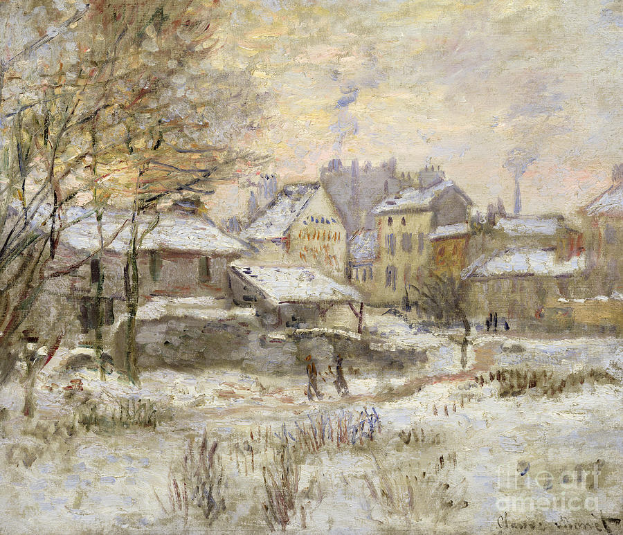 Sunset Painting - Snow Effect With Setting Sun by Claude Monet