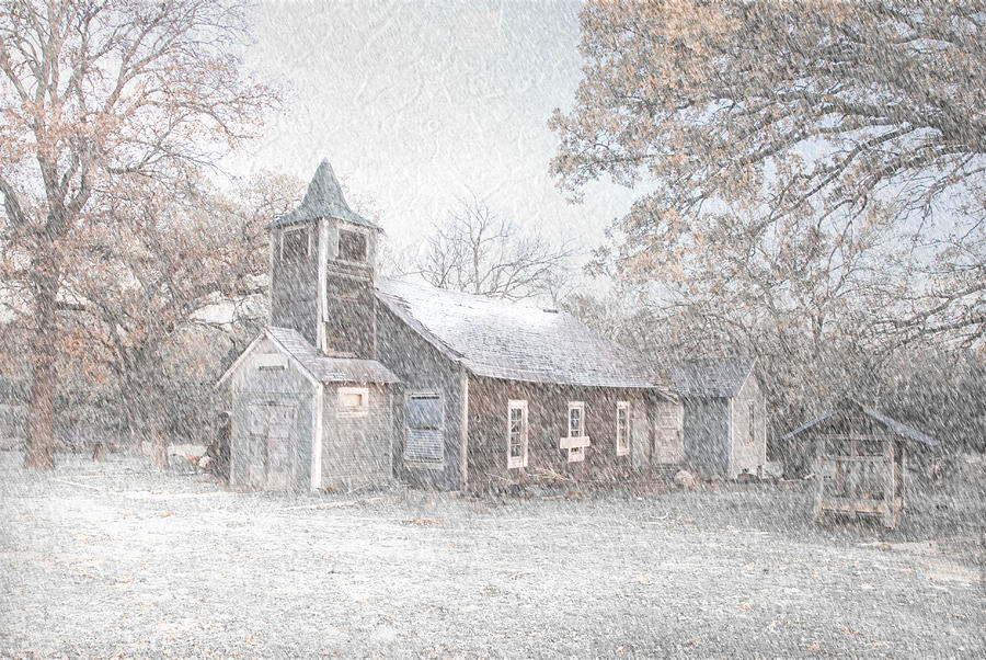 Arkansa Photograph - Snow Fall Old Church by Cindy Rubin