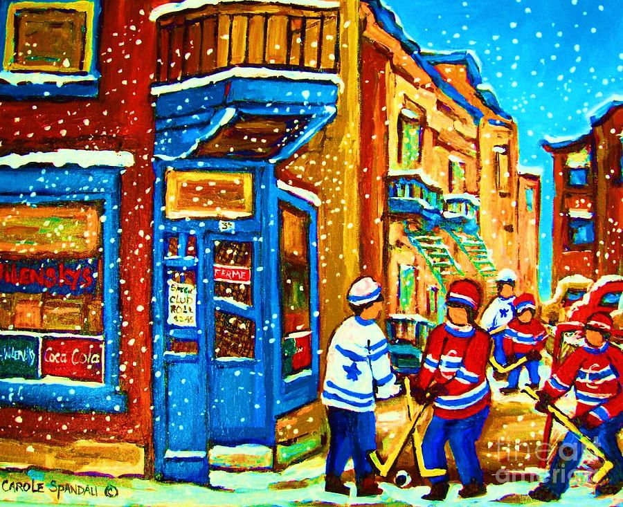 Montreal Painting - Snow Falling On The Game by Carole Spandau