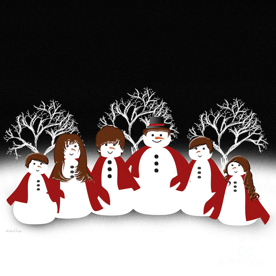 Snow Family 2 Square Digital Art by Andee Design