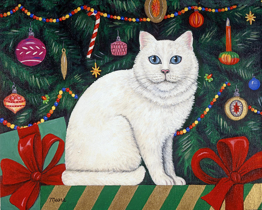 Pet Portrait Painting - Snow Flake The Cat by Linda Mears