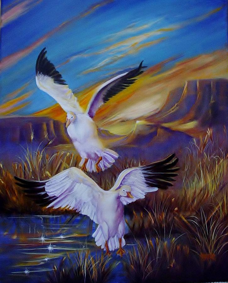 Birds Painting - Snow Geese by Sherry Strong