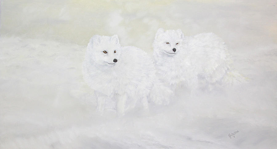 Arctic Foxes Painting - Snow Ghosts Of The North by Johanna Lerwick