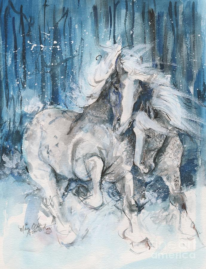 Horses Painting - Snow Horses by Mary Armstrong