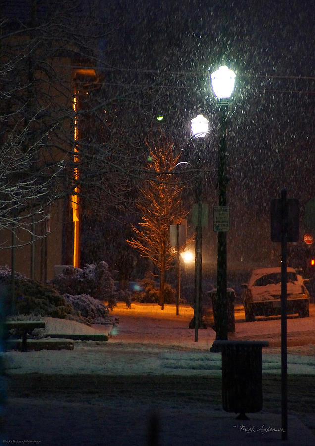 Snow Photograph - Snow In Downtown Grants Pass - 5th Street by Mick Anderson