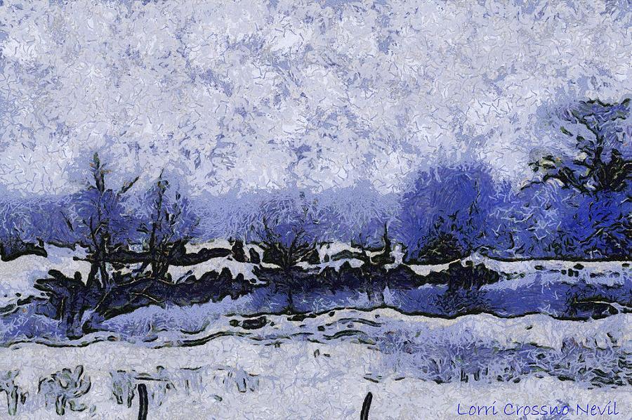 Snow Photograph - Snow In Texas Van Gogh Style by Lorri Crossno