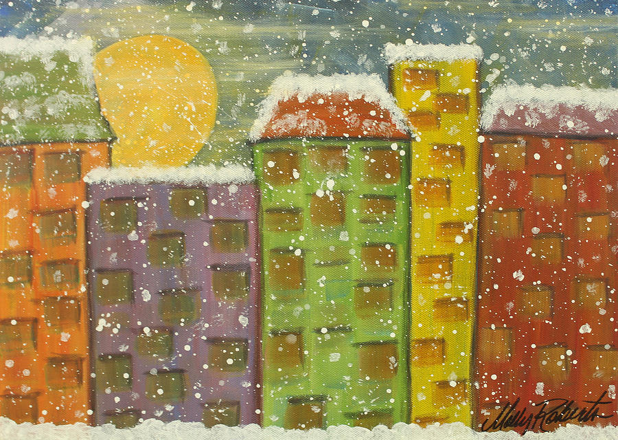 Abstract Painting - Snow In The City by Molly Roberts
