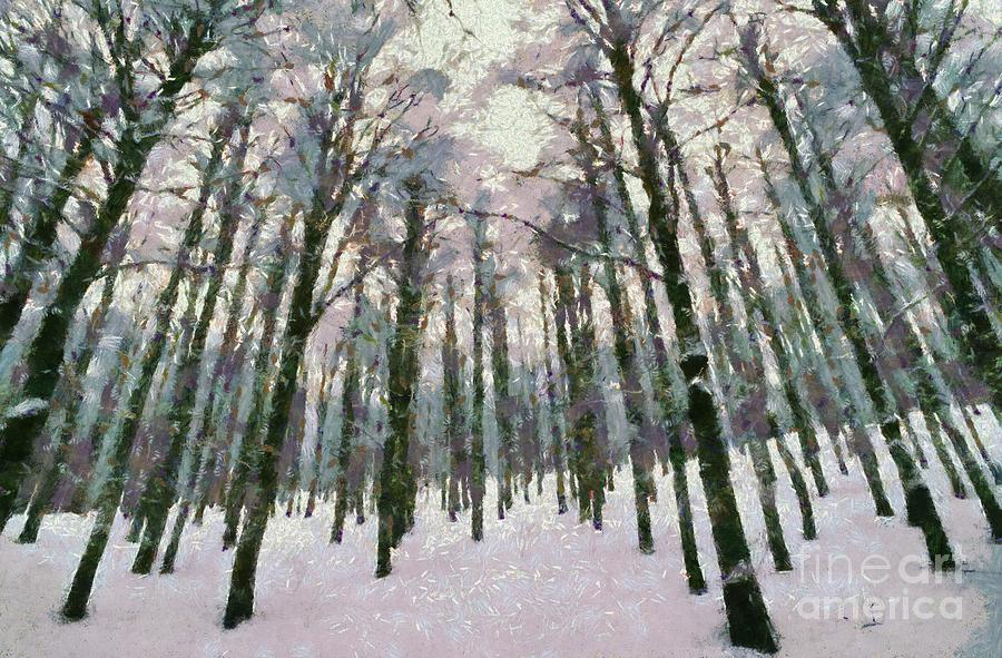 Snow In The Forest Painting by George Atsametakis