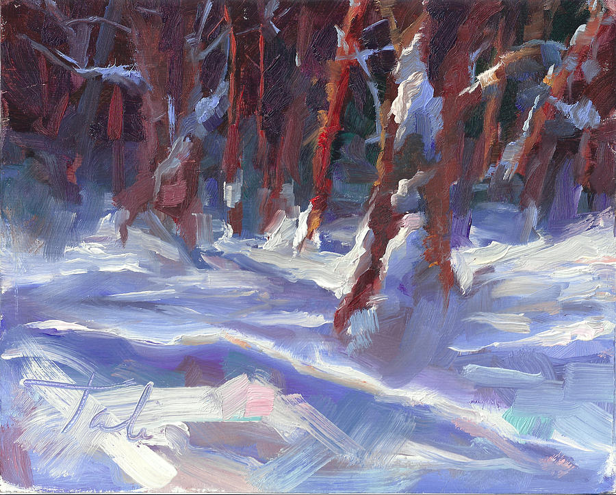 Impressionism Painting - Snow Laden - Winter Snow Covered Trees by Talya Johnson