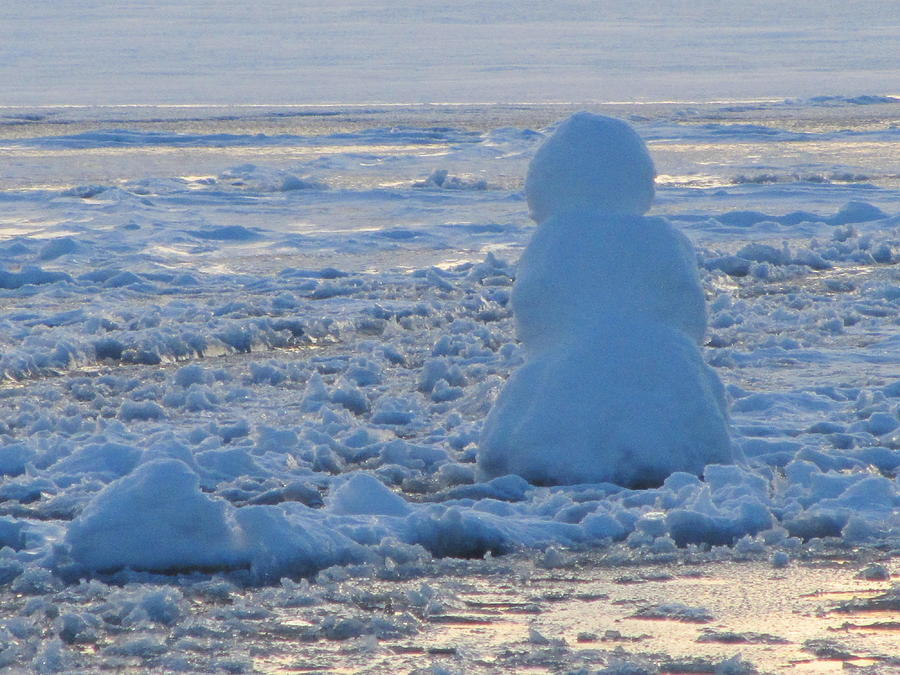 Snow Photograph - Snow-Lady Watching the Sunset by Deborah Flusberg