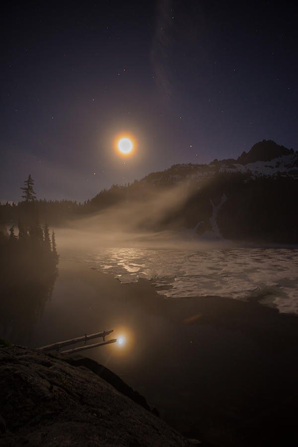 Snow Lake Photograph - Snow Lake Moondance by Mike Reid