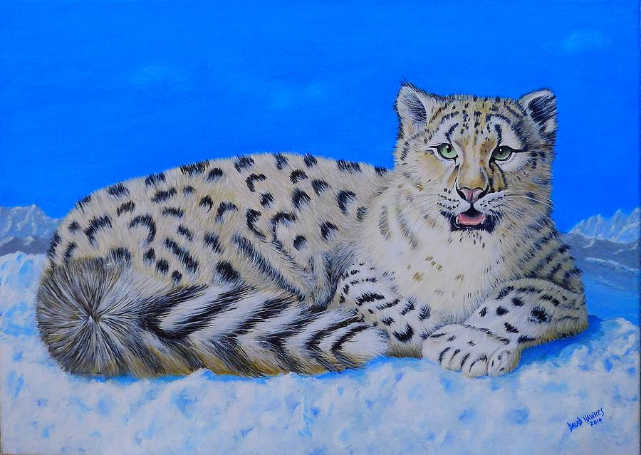 Snow Painting - Snow Leopard by David Hawkes