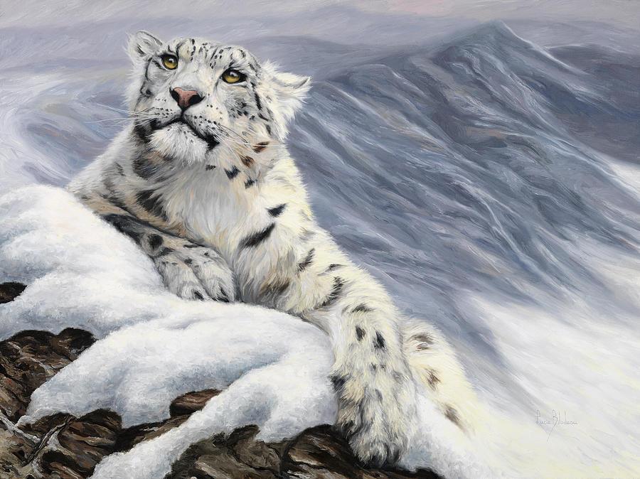 Snow Leopard Painting - Snow Leopard by Lucie Bilodeau