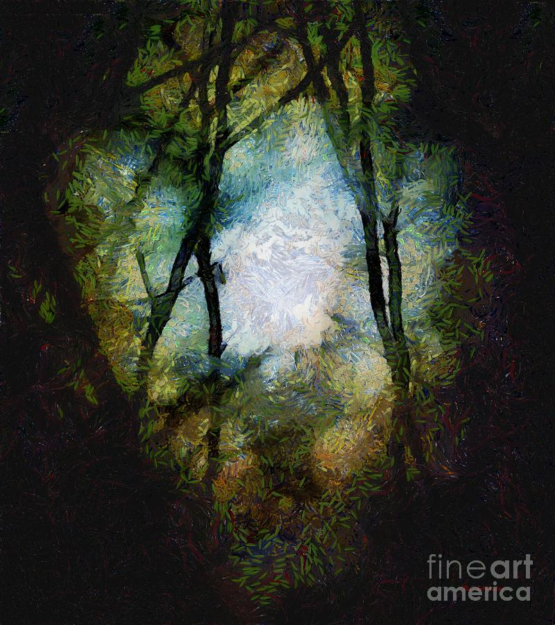 Moon Painting - Snow Moon Embrace by RC deWinter