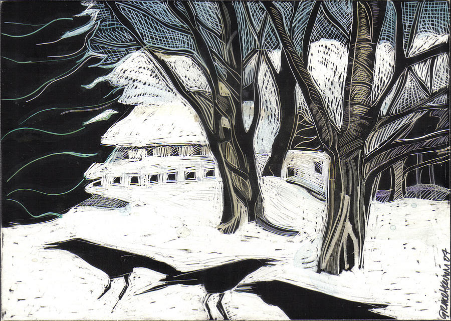 Maine Drawing - Snow Noise by Grace Keown