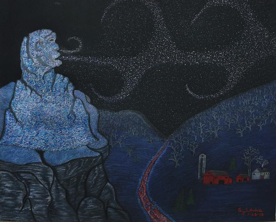 Old Man Winter Drawing - Snow Old Man Winter by Gerald Strine