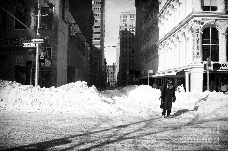 Snow On Broadway 1990s Photograph - Snow On Broadway 1990s by John Rizzuto