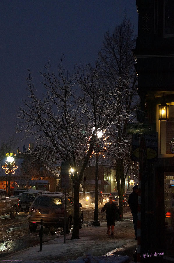 Snow Photograph - Snow On G Street 4 - Old Town Grants Pass by Mick Anderson