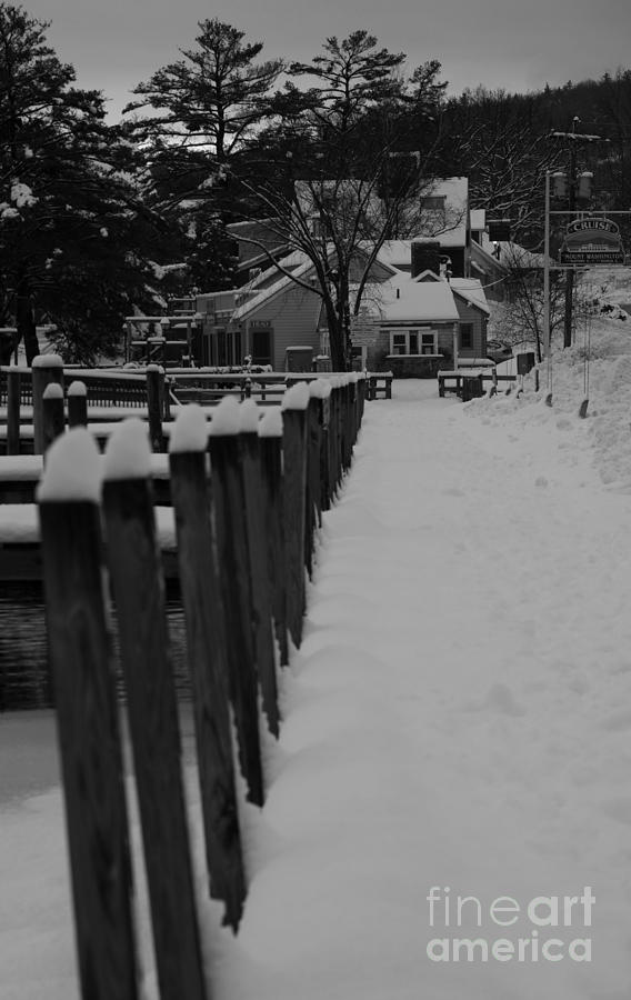 Meredith Photograph - Snow on the docks by Mike Mooney